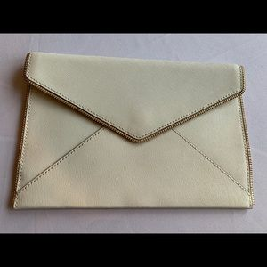 Rebecca Minkoff Leo Winter White Leather Clutch